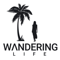 wandering life logo, woman walking with palm tree on the side