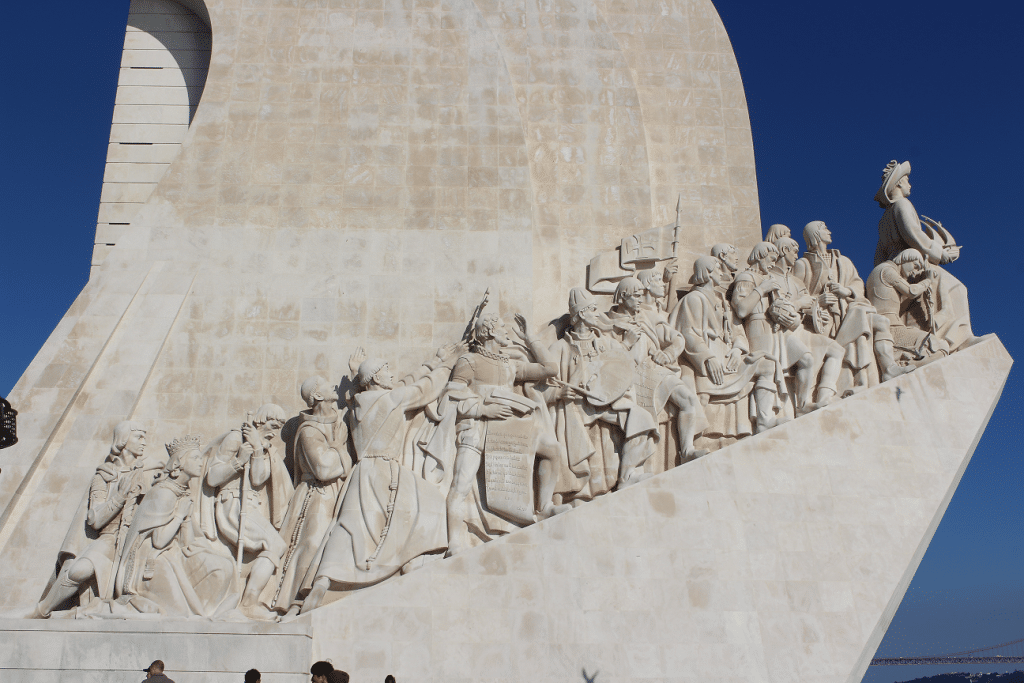 One side of the sculpture with 33 figures in the Tower of Belém, Portugal