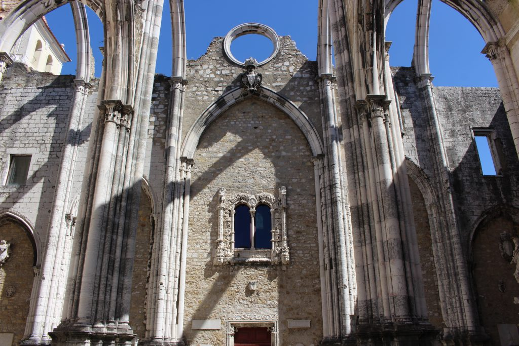Window from the Jeronimos Monastery, inside Carmo church, Lisbon, Portugal