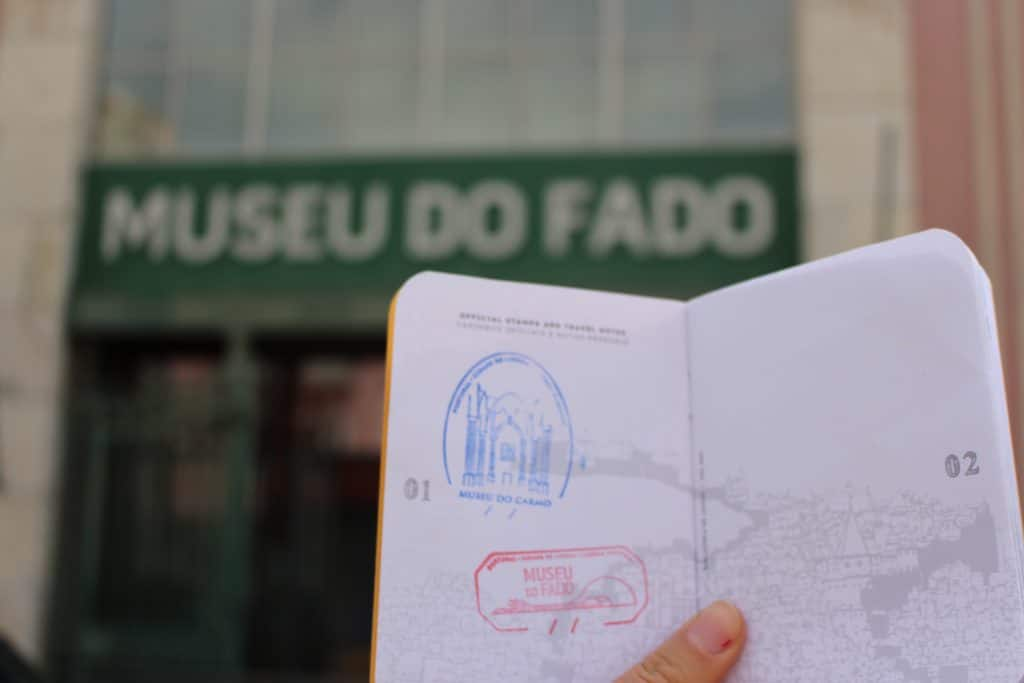 Lisbon Passport with the stamp of the Fado Museum, Lisbon, Portugal