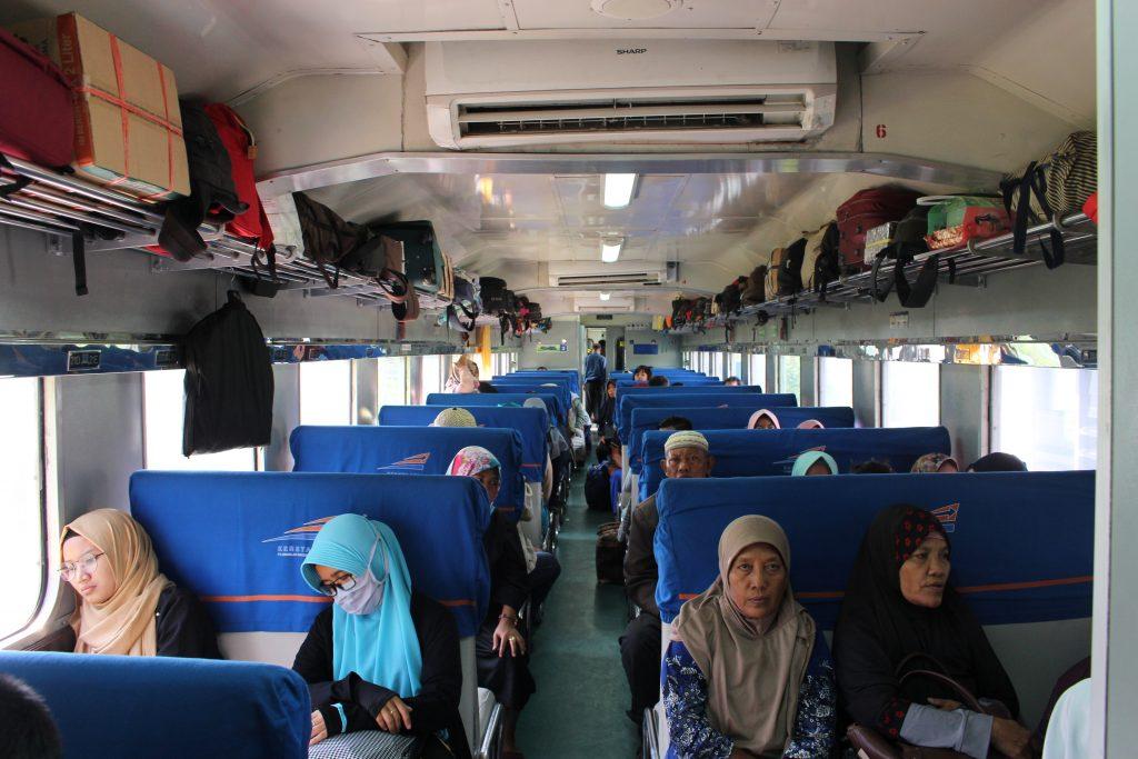 Interior of a train in Java, Indonesia