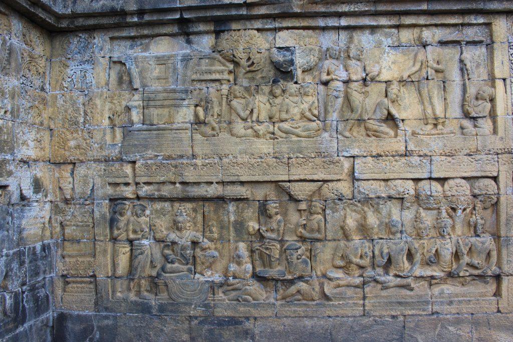 1º patamar de Borobudur, Java, Indonésia